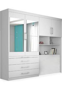 Armário Wes 1,85 - Com Espelho Sem Cama, Padrao - Branco Acetinado