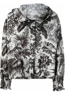 Moncler Jaqueta Com Capuz E Estampa Botânica - Preto