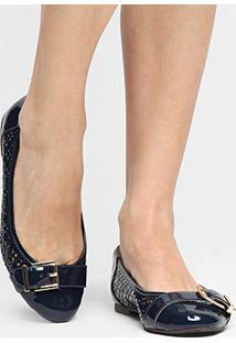 Sapatilha Shoestock Redondo Laser Lgt - Feminino-Marinho