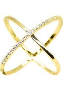 Anel Em X Cravejado De Zirconias - Feminino-Dourado