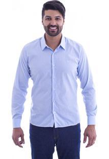 Camisa Slim Fit Live Luxor Azul Listrado 2112 - Gg