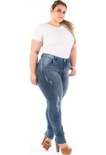Calça Jeans Confidencial Extra Plus Size Slin Feminina - Feminino-Azul