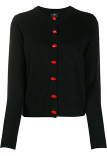 Ps Paul Smith Cardigan Lip Com Botões - Preto