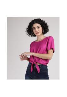 Blusa Feminina Cropped Ampla Com Nó Manga Curta Decote Redondo Roxa