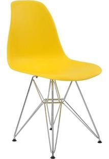Cadeira Eames Eiffel Rivatti Sem Braço Pp Base Cromada Amarelo