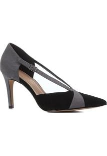 Scarpin Couro Shoestock Salto Alto Bico Fino Tiras Bicolor - Feminino-Preto+Cinza