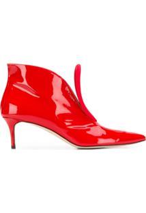 Christopher Kane Ankle Boot Com Detalhe De Renda - Vermelho