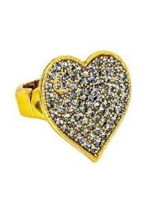 Anel Armazem Rr Bijoux Coração Cristais Cravejados Swarovski Dourado - Feminino