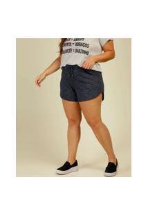 Short Plus Size Feminino Amarração Barra Assimétrica