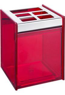 Porta Escova & Creme Dental Quadrada- Inox & Vermelho