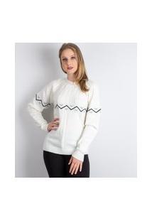 Blusa De Malha Com Tranças E Jacquard Sumaré 31173 - Off White - P