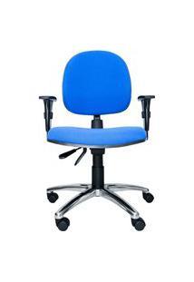 Cadeira Giratória Ergonômica Bol. Ajuste Lombar. Braços Ajustáveis. Gás. Estrutura Preta. Base Alumínio. Tecido Poliéster Azul. Prolabore Produtos Ergonômicos
