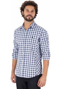 Camisa Side Walk Camisa Xadrez Recorte Azul Marinho