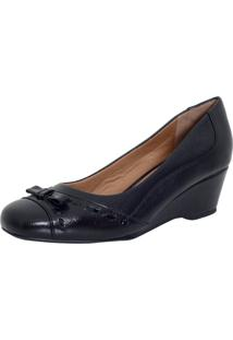 Sapato Laura Prado Anabela Confort Preto