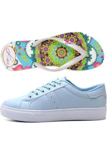 Kit Tênis Casual Flatform E Chinelo Color Dia A Dia Feminino - Feminino-Azul