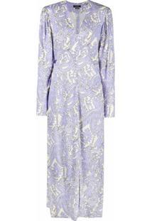 Isabel Marant Vestido Longo Gola V Com Estampa Paisley - Azul