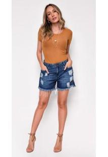 Bermuda Jeans Zait Helen Com Barra Desfiada Feminina - Feminino-Azul