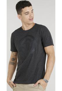 Camiseta Masculina Capitão América Manga Curta Gola Careca Cinza Mescla Escuro