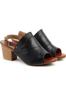 Sandália Salto Em Couro Feminina F1610 Vec Preto/Whisky 33