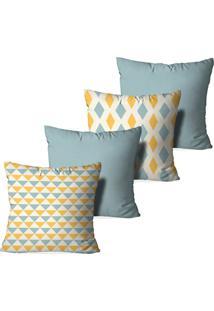 Kit 4 Capas Love Decor Para Almofadas Decorativas Triangular Multicolorido Amarelo