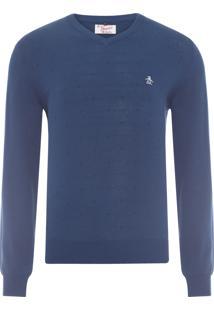 Blusa Tricot Masculino Gola V - Azul