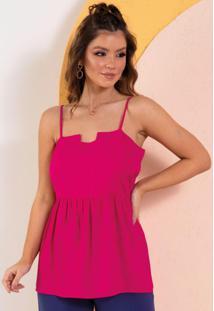 Blusa Pink De Alças Com Peplum