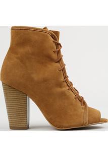 Bota Ankle Boot Feminina Com Amarração Salto Alto Caramelo