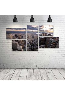 Quadro Decorativo - New-York-Sky - Composto De 5 Quadros