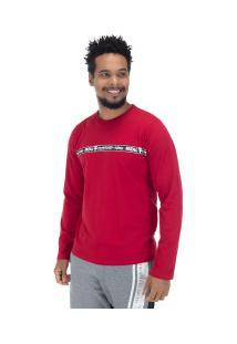 Camiseta Manga Longa Estampada 22243 - Masculina - Vermelho