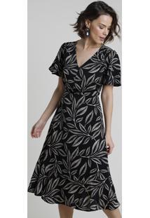 Vestido Feminino Midi Estampado De Folhagem Manga Curta Preto