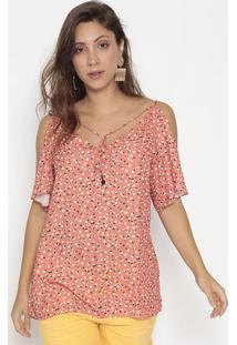 Blusa Poã¡ Com Tiras & Ombros Vazados- Vermelha & Branca