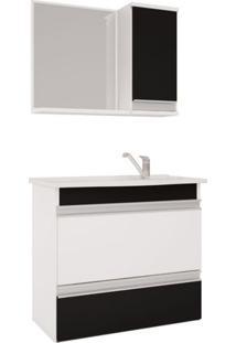 Armário Banheiro Com Espelheira E Pia Em Marmore Sintetico Branco/Preto Grécia Mgm