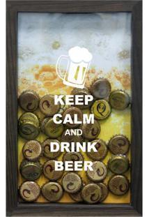 Quadro Porta Tampinhas De Cervejas Keep Calm Betume