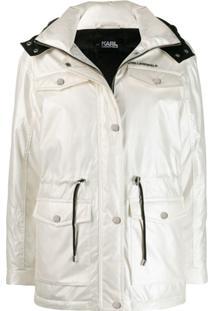 Karl Lagerfeld Jaqueta Com Cordão De Ajuste - Branco