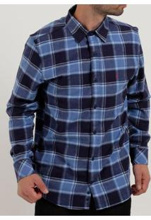 Camisa Flanela Slim Manga Longa Masculina Azul Claro
