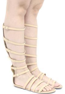 Sandália Zariff Shoes Gladiadora Camurça Bege