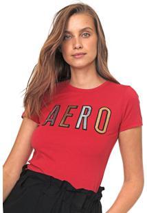 Camiseta Aeropostale Bordado Paetê Vermelha