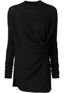 Rick Owens Suéter Com Drapeado - Preto