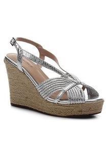 Sandália Anabela Shoestock Metalizada Corda Feminina