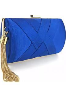 Bolsa Clutch Liage Cetim E Metal Alça Azul Escuro Royal E Dourada - Kanui