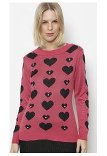 Ponto Aguiar Blusa Em Tricã´ Coraã§Ãµes Pink & Preta