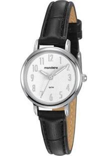 Relógio Analógico Mondaine - 83476L0Mvnh1 Feminino - Feminino-Preto+Prata
