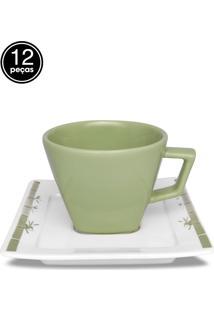 Conjunto 12Pçs Xícaras De Chá Oxford C/Pires Mail Order Nara Imperial Verde