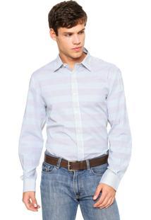 Camisa Perry Ellis Lisa Branca/Azul