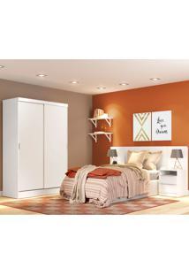 Dormitório Completo Branco C/ Roupeiro Cabeceira E Mesa De Cabeceira Oslo Madesa
