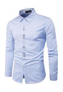 Camisa Masculina Slim Fit Com Detalhes Romanos Manga Longa - Azul Claro