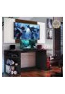 """Mesa Gamer Com Painel E Suporte Tv 65"""" Guilda Multimóveis Preto/Branco/Madeirado"""