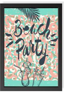 Quadro Decorativo Com Moldura Beach Party Preto