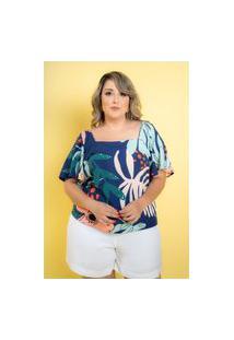 Blusa Viscose Ivy Folhagem Azul Royal Plus Size 42 Maria Rosa Plus Blusas Azul