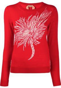 Nº21 Anemone Intarsia Knitted Sweater - Vermelho
